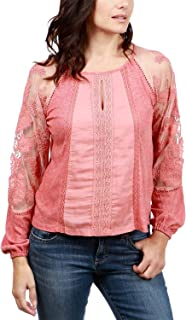 Lucky Brand Women's Embroidered Lace-Trim Top