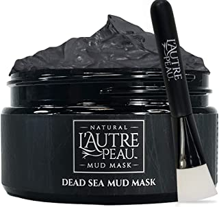 Dead Sea Mud Mask with Applicator Brush by L'AUTRE PEAU - Imported From Israel - 100% Natural Face and Body Mask - Minimiz...