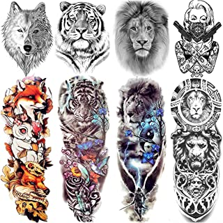 VANTATY 8 Sheets Extra Large 3D Realistic Animals Full Arm Temporary Tattoos For Men Women Fake Arm Sleeve Tattoo Maori Wo...