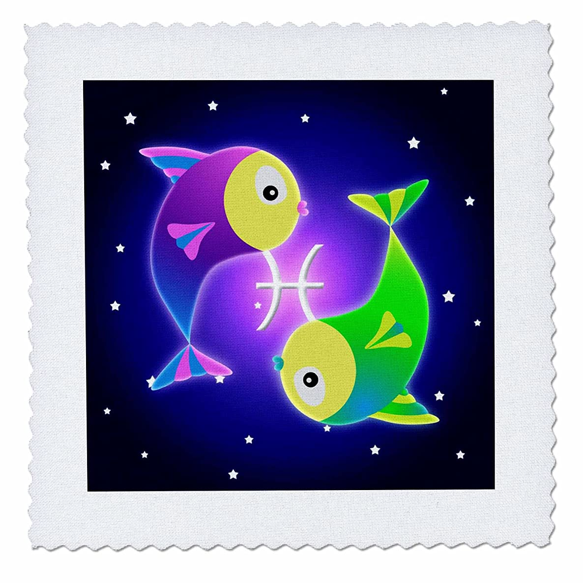 3dRose qs_28553_2 Cute Astrology Pisces Zodiac Sign Fish-Quilt Square, 6 by 6-Inch