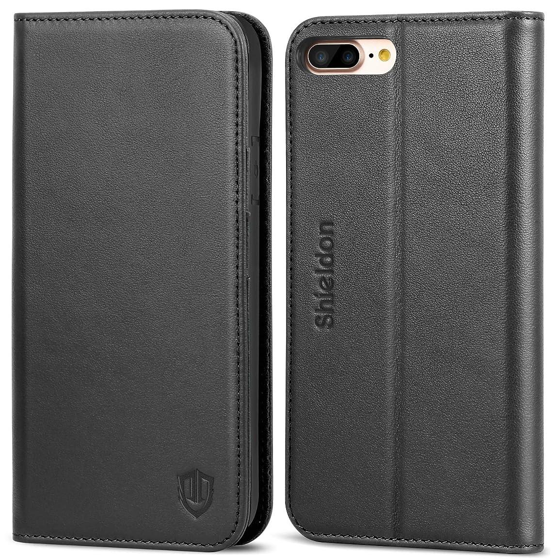 書くクリスマスすでにiPhone 8 Plus ケース 手帳型 アイフォン8プラスケース SHIELDON 本革 ソフトTPU スタンド カード収納 衝撃吸収 マグネット 全面保護 人気 おしゃれ iPhone 8 Plus / 7 Plus 対応 ブラック