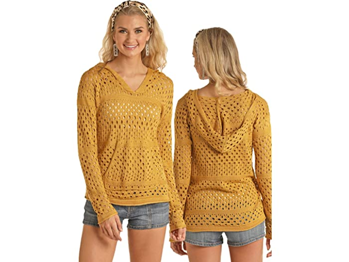 Rock and Roll Cowgirl 48H5168 Knit V-Neck Hoodie in Mustard Yellow