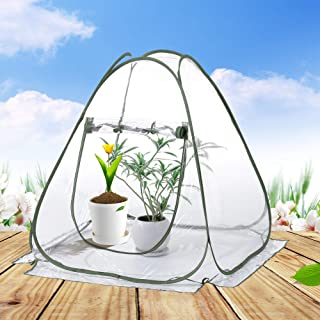 porayhut Clear PVC Greenhouse Cover Flower House Mini Gardening Plant Flower Pop Up Tent,Backyard Greenhouse Cover for Cold Frost Protector Gardening Plants