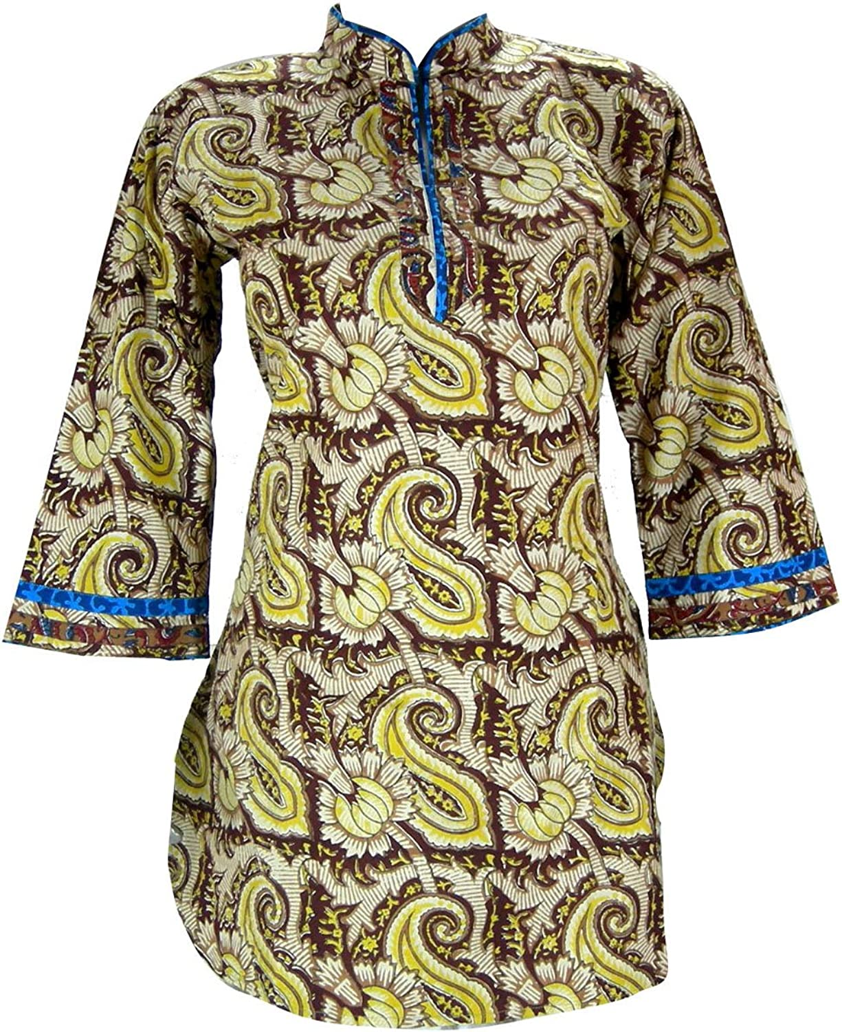 Traditional Printed Top Kurta Indian Clothing  Length 33  , Bust 38  (L)