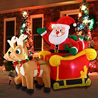 Joiedomi Christmas Inflatable Decoration 6 FT Santa Claus on Sleigh with Build-in LED Blow Up Self-Inflatable for Christmas, Party Indoor, Outdoor, Yard, Garden, Lawn Décor.