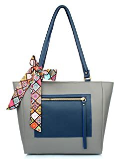 Mammon Women's Colorful Handbag (pkt-zip-ribn-grey)