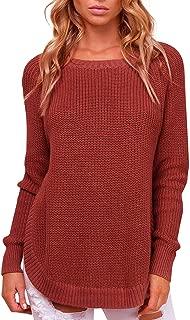 SUNJIN ARCO Women's Crew Neck Sweaters Casual Long Sleeve Side Split Knit Pullover Top