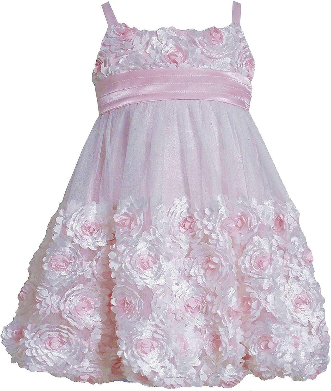 Bonnie Jean Baby-Toddler-Little-Big Girls Die Cut Bonaz Rosette Bubble Mesh Social Dress