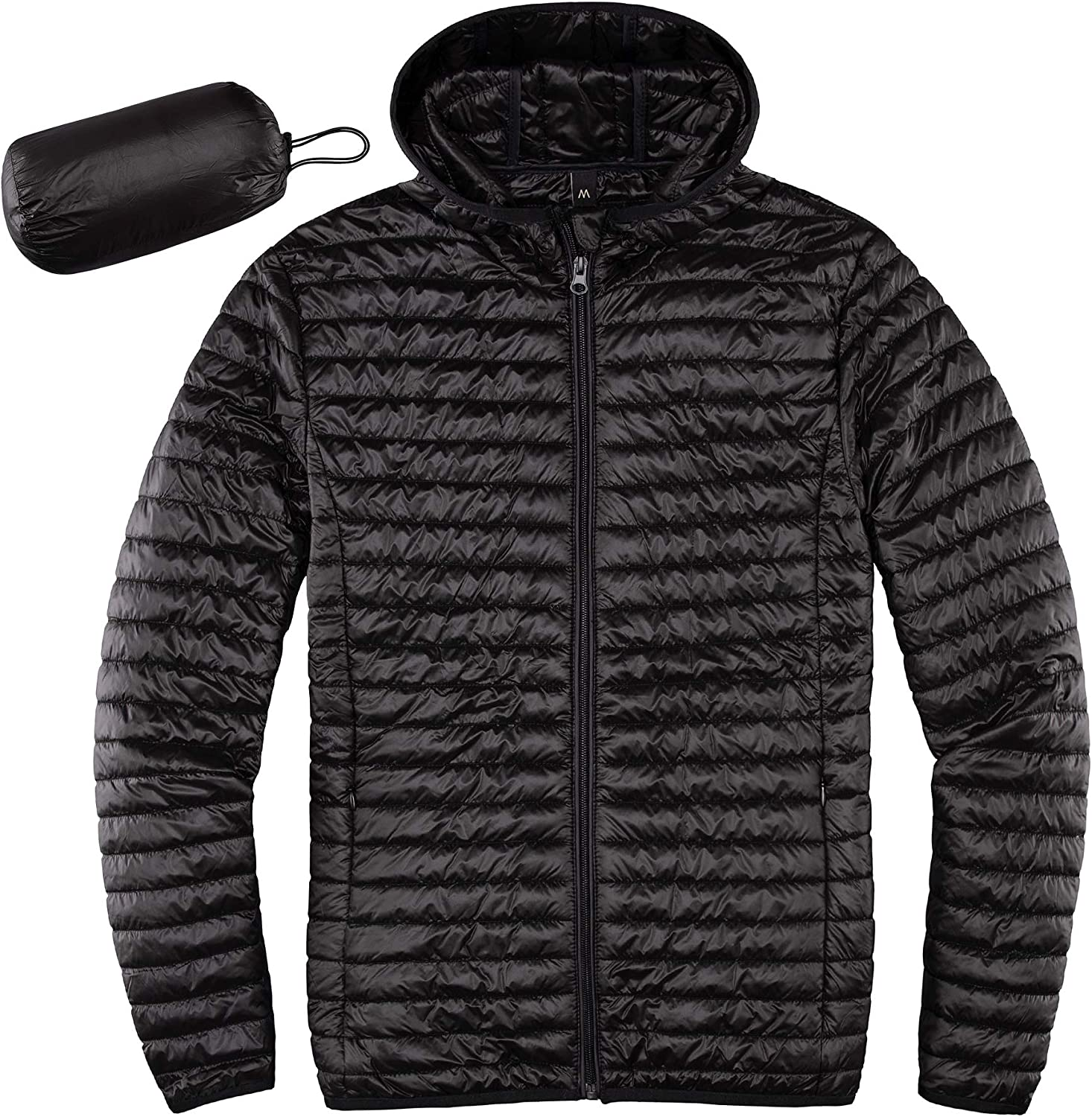 Lisskolo Men's Lightweight Quilted Ultra Loft Packable Puffer Hooded Jacket Synthetic Insulated Jackets