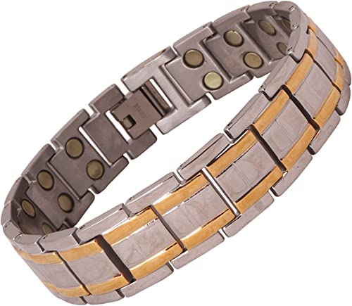 Amazheal Bio Magnetic Gold Silver Color Adjustable Titanium Energy Health Bracelet for Men and Women