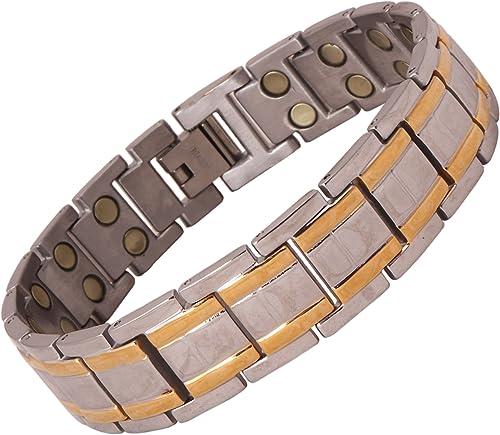 Amazheal Bio Magnetic Gold Silver Color Adjustable Titanium Energy Health Bracelet for Men and Women