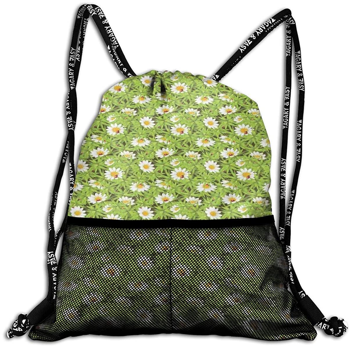 Drawstring Backpacks Bags,Chamomiles And Ladybugs In Spring Season Blooming Flowers And Wildlife,5 Liter Capacity,Adjustable
