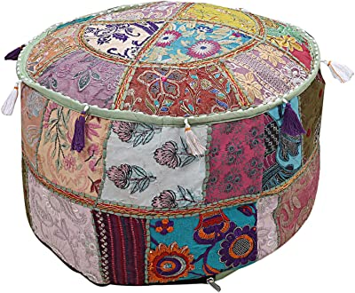 Peachy Amazon Com Janki Creation Ottoman Pouf Stool Round Seating Gmtry Best Dining Table And Chair Ideas Images Gmtryco