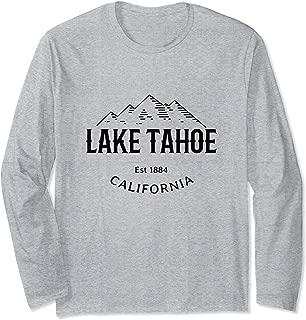 Retro Cool Lake Tahoe California Sierra Nevada Novelty Art Long Sleeve T-Shirt