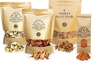 Smokey Olive Wood 3X 1700ml selección de virutas para ahumar + 1x 300ml Fire Spices: virutas de Madera para Barbacoa & ahumar, Olivo, Naranjo, Almendro, y Mezcla de Especias para Quemar