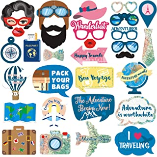 Yaaaaasss! Adventure Awaits Photo Booth Props for Travel Themed Bon Voyage Farewell Retirement Party Supplies Props Kit - 31 Count