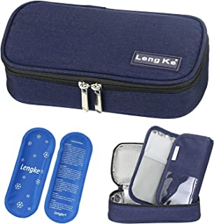 YOUSHARES Insulin Travel Case - Insulated Medication Cooler Travel Bag for Diabetic Insulin Pen and Vials Storage with 2 Cooling Ice Packs (Blue)