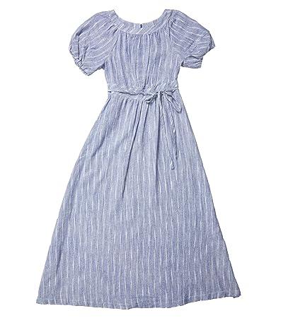 Calvin Klein Short Sleeve Maxi Dress with Tie Waist (Denim Blue) Women