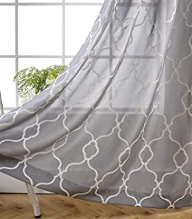 MIUCO Moroccan Embroidered Semi Sheer Curtains Linen Look Grommet Curtains for Living Room 52 x 84 Inch Set of 2, Grey