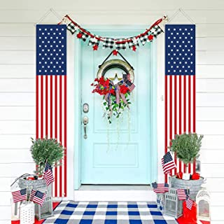 MORDUN Patriotic Decorations for Labor Day-4th of July Decor-Hanging American Flag Banners Stars and Stripes Porch Sign-Fourth of July Party Supplies Indoor Outdoor-Red White Blue (2 Pcs)
