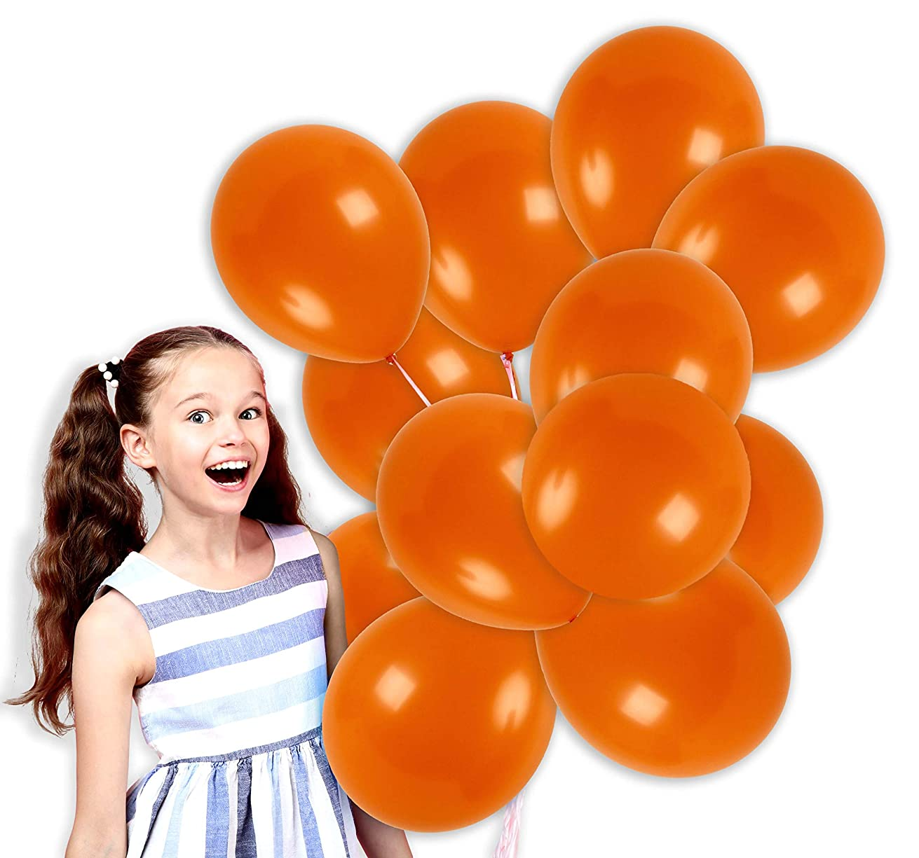 Treasures Gifted 12 Inch Orange Solid Latex Balloons Premium Quality Bouquet for Halloween Rainbow Tropical Island Spring Circus Birthday Party Supplies (100 Pack)