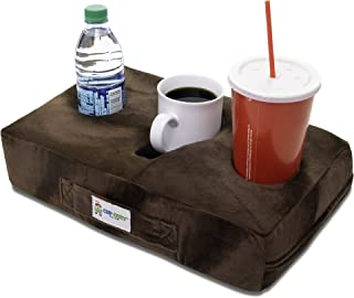 Cup Cozy Pillow (Brown)- The world's BEST cup holder! Keep your drinks close and prevent spills. Use it anywhere-Couch, floor, bed, man cave, car, RV, park, beach and more!