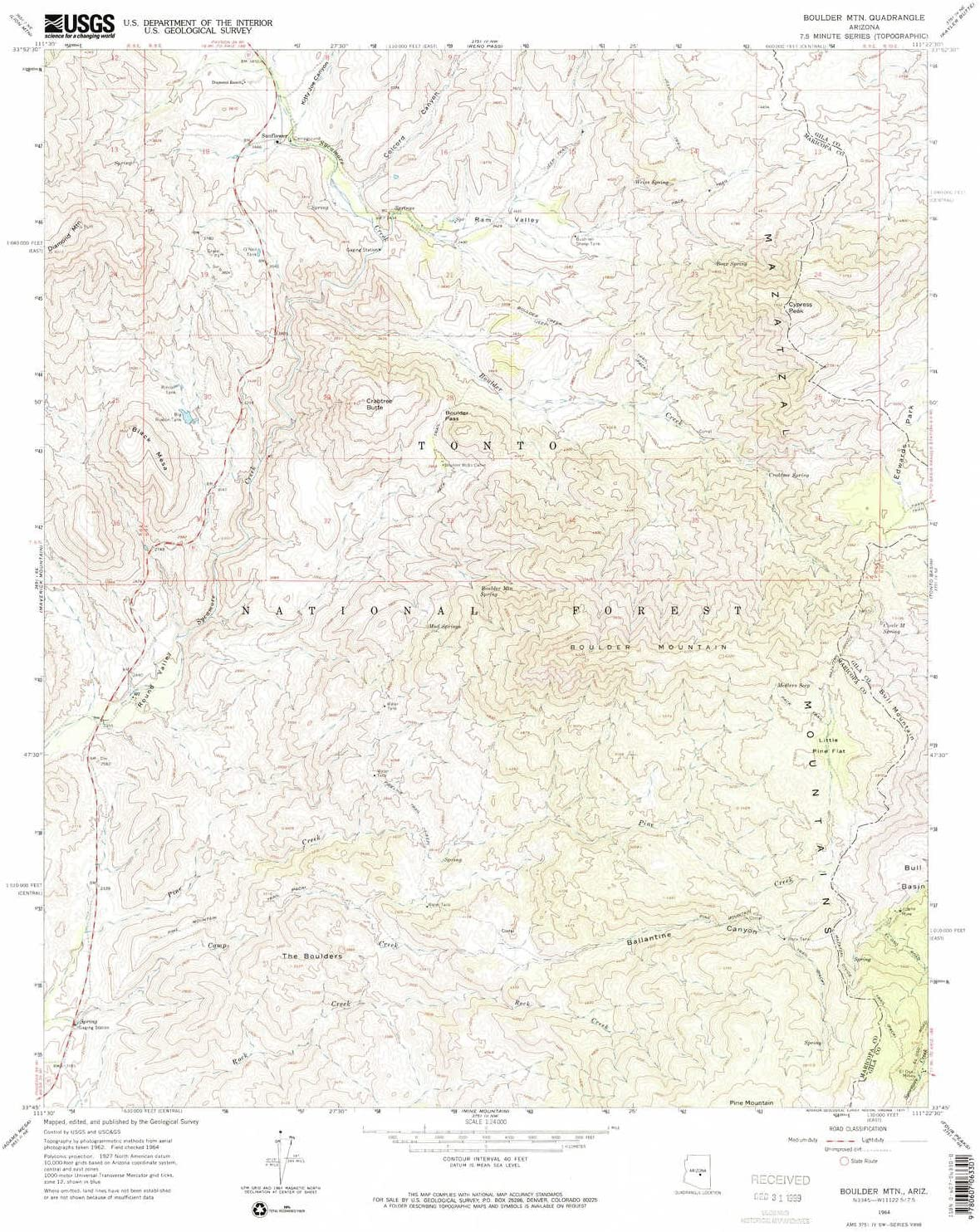 YellowMaps Boulder MTN AZ topo Columbus Mall map X Scale 7.5 New item Min 1:24000