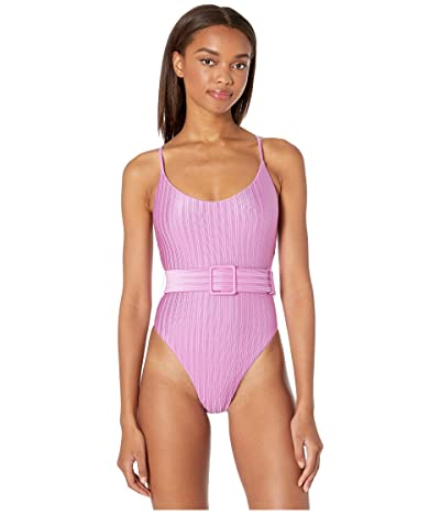THE BIKINI LAB Luster Rib High Leg Plunge One-Piece (Fuchsia) Women