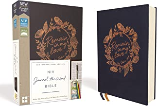 NIV, Journal the Word Bible, Cloth over Board, Navy, Red Letter Edition, Comfort Print: Reflect, Take Notes, or Create Art Next to Your Favorite Verses