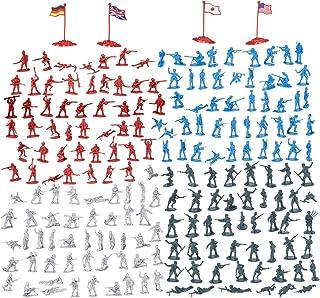 Juvale 200-Piece Set figuras militares - Los soldados de juguete del Ejército en 4 colores, Segunda Guerra Mundial Playset Con 4 Banderas Multi