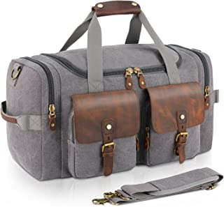 Plambag Oversized Leather Canvas Duffle Bag Overnight Tote Weekend Bag (Gray)