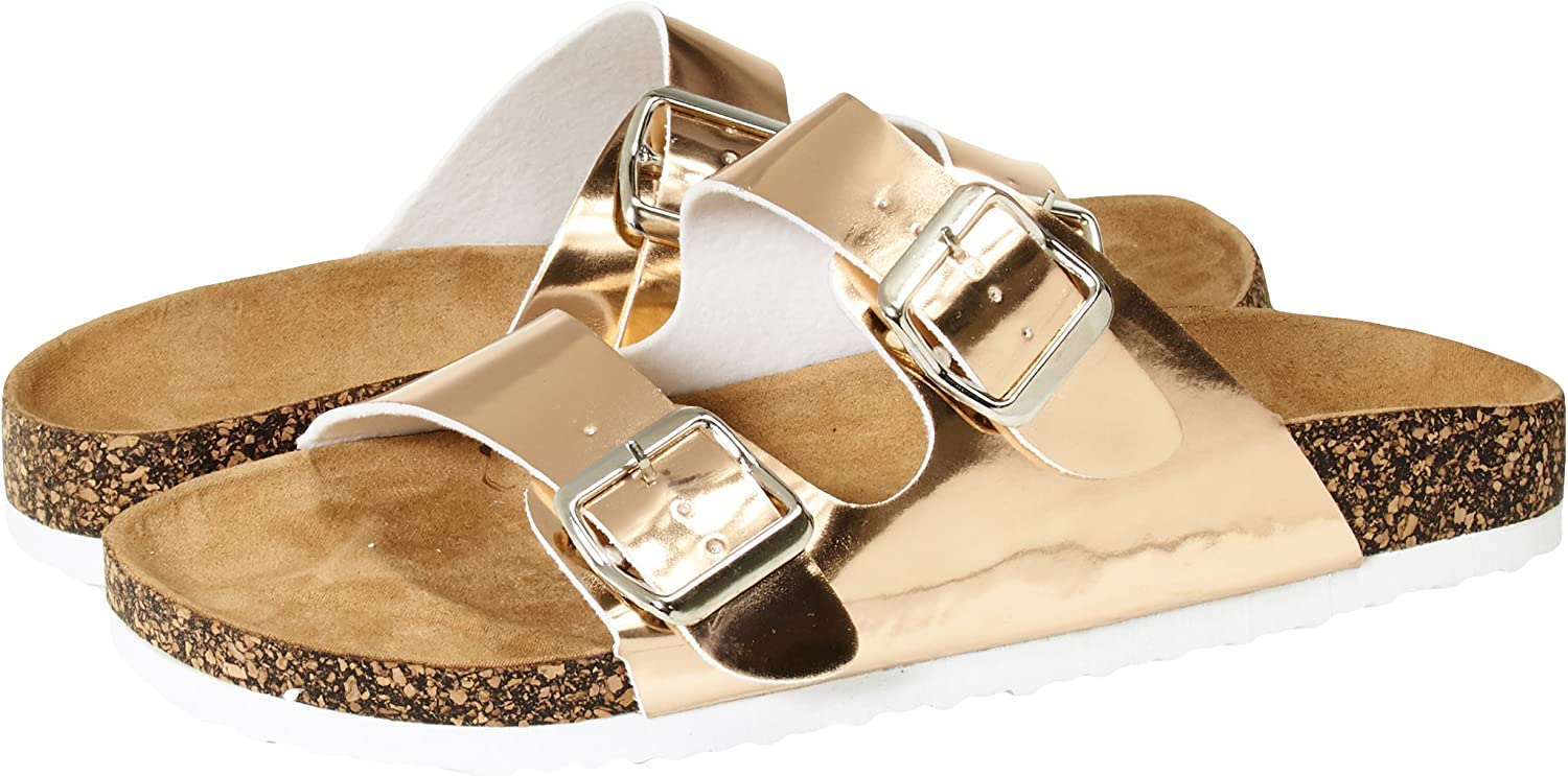 Sara Z Womens Two Buckle Strap Cork Footbed Slide Sandals