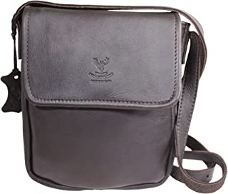 Wild Scottish Deerskin Designer Dark Brown Tan Leather Cross Body Bag