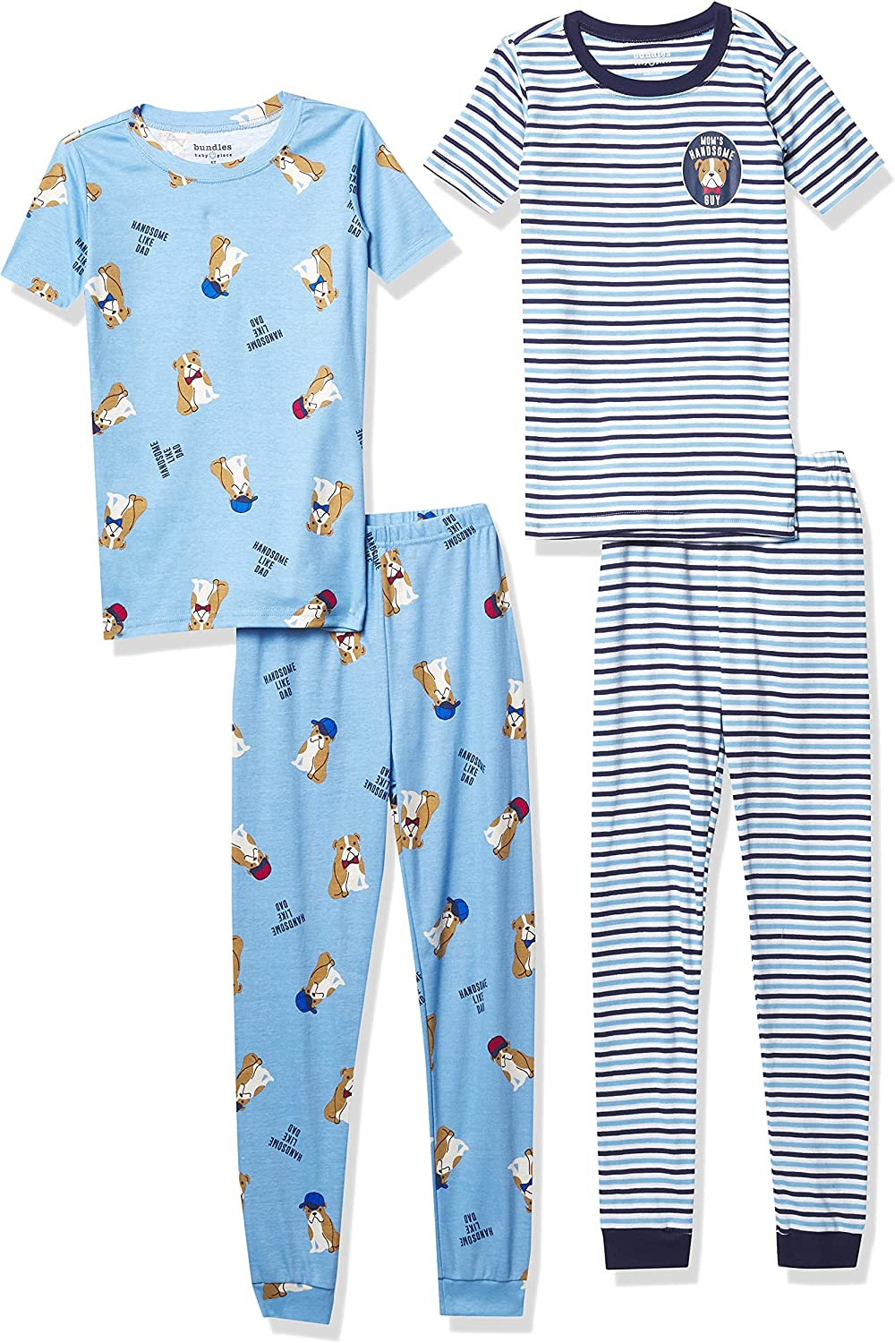The Children's Place Baby And Toddler Boys Bull Dog Snug Fit Cotton 4-Piece Pajamas