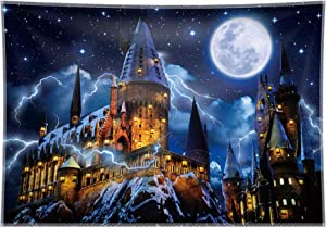 Allenjoy 7x5ft Durable/Soft Fabric Magic Castle Photography Backdrop Wizard World Night Sky Moon Background Halloween Decoration Tapestry Birthday Baby Shower Party Supplies Photo Booth Props