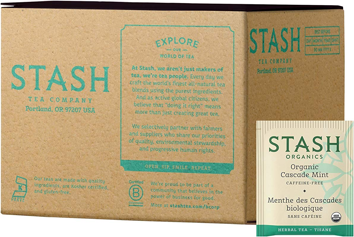 Stash Tea Organic Cascade Mint Herbal Tea 100 Count Tea Bags In Foil Packaging May Vary Individual Herbal Tea Bags For Use In Teapots Mugs Or Cups Brew Hot Tea Or Iced Tea