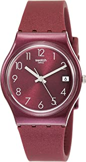 Swatch Redbaya GR405 Red Silicone Swiss Quartz Fashion Watch