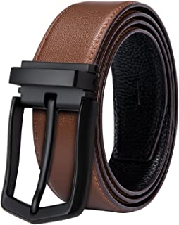 Dubulle Men Genuine Leather Jean Belt Soft Cowhide Brown Belt For Men with Single Prong Buckle,Trim to fit