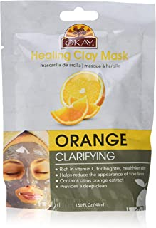 Okay Healing Clay Mask - Orange For All Skin Types Clarifying Balance Oily Skin, 1.5 Ounce (Pack of 72)