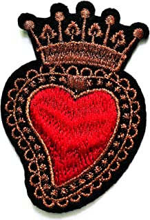 Nipitshop Patches Beautiful Red Heart Crown Royal King Queen Iron Sew On Embroidered Patch Badge Transfer Kids Clothing Cartoon for adorning Your Jeans Hats Bags Jackets Shirts or Gift Set