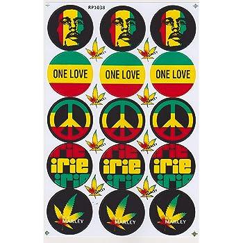 Autocollant Sticker Label Bob Marley Reggae Rasta Jamaika Cannabis l/égaliser Moto 1 Page 27 x 18 cm pour lext/érieur