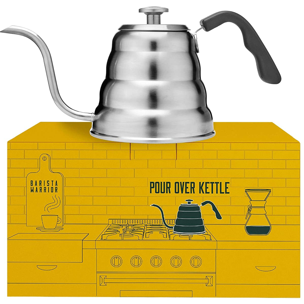 Pour Over Coffee Kettle with Thermometer for Exact Temperature - Gooseneck Pour Over Kettle for Drip Coffee and Tea (1.2 Liter | 40 fl oz) (Stainless Steel)