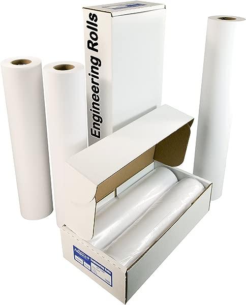 Alliance Paper Rolls Bond Engineering 24 X 500 92 Bright 24lb 2 Rolls Per Carton With 3 Core
