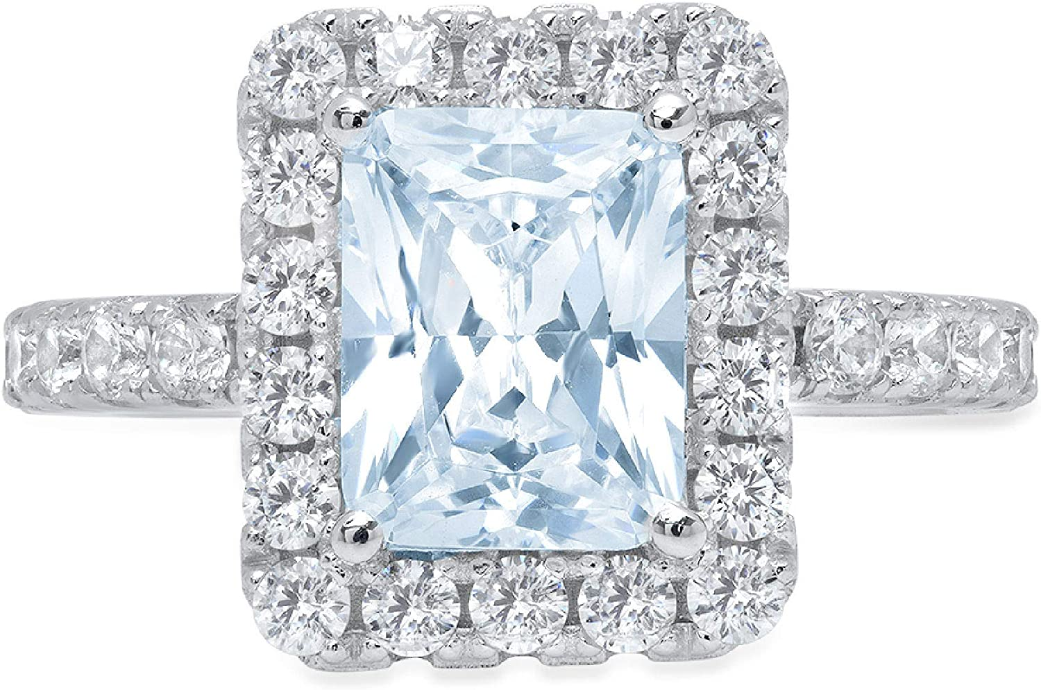 unisex 3.87ct Brilliant Emerald Cut Solitaire Halo Charlotte Mall with Natural Accent
