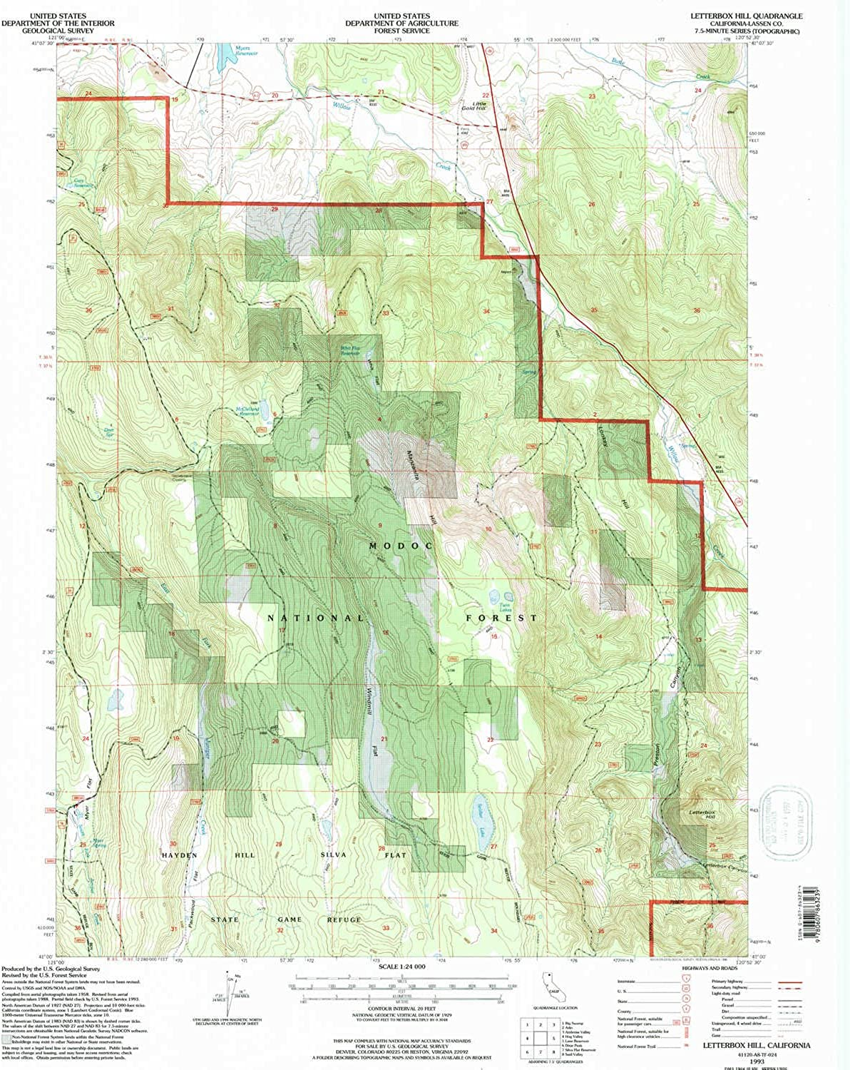 Letterbox Hill CA topo map, 1 24000 Scale, 7.5 X 7.5 Minute, Historical, 1993, Updated 1996, 26.5 x 21.9 in
