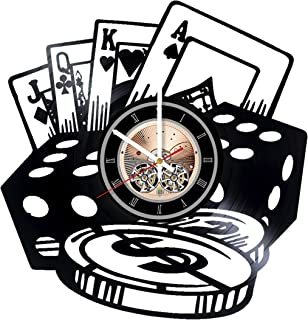 Poker Chips Vinyl Record Wall Clock - Play Room wall decor - Gift ideas for Friends, Men, Boys – Game Unique Art Design
