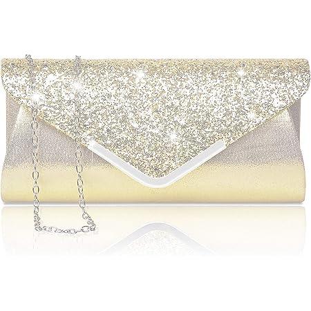 Larcenciel Damen Clutch Abendtasche Unterarmtasche Umhängetasche mit Strass-Steinen und Abnehmbarer Kette in den Farben Silber Gold Altrosa (Gold)
