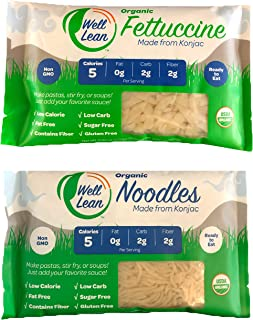 Organic Well Lean Variety (20 Pack/190.3 oz) - Premium Shirataki [ODOR FREE, Non-GMO, Ready to Eat, No Boiling] - (Includes: 10 Shirataki Noodles and 10 Shirataki Fettuccine) - Premium Konjac Pasta