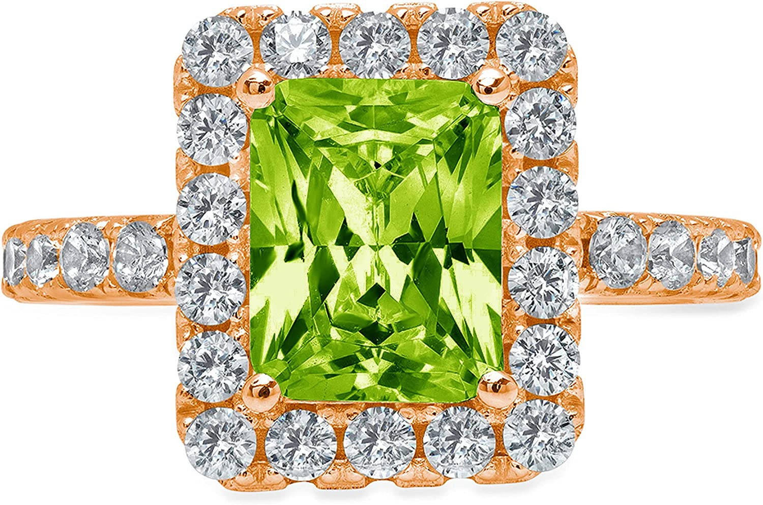 Clara Pucci 4 Brilliant Emerald Cut Solitaire Accent Halo Stunning Genuine Flawless Natural Green Peridot Gem Designer Modern Ring Solid 18K Rose Gold