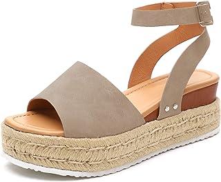 b3c9d7be2 Athlefit Women's Platform Sandals Espadrille Wedge Ankle Strap Studded Open  Toe Sandals